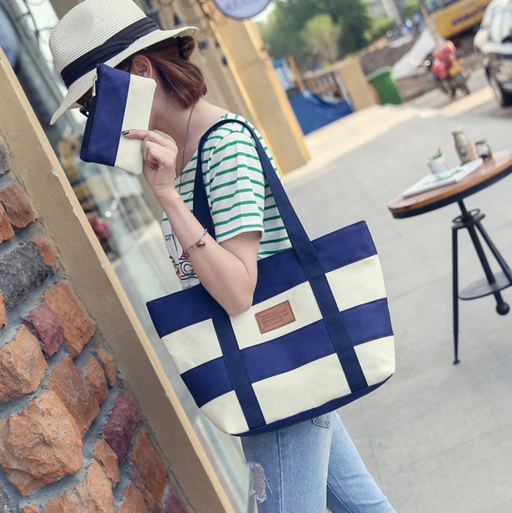 Women's Canvas Cotton Tote Bag Large Capacity Stripe Handbag Casual Shoulder Bag Shopping Bag with Small Purse for School Work Travel (Blue) by Gupiar (Image #3)
