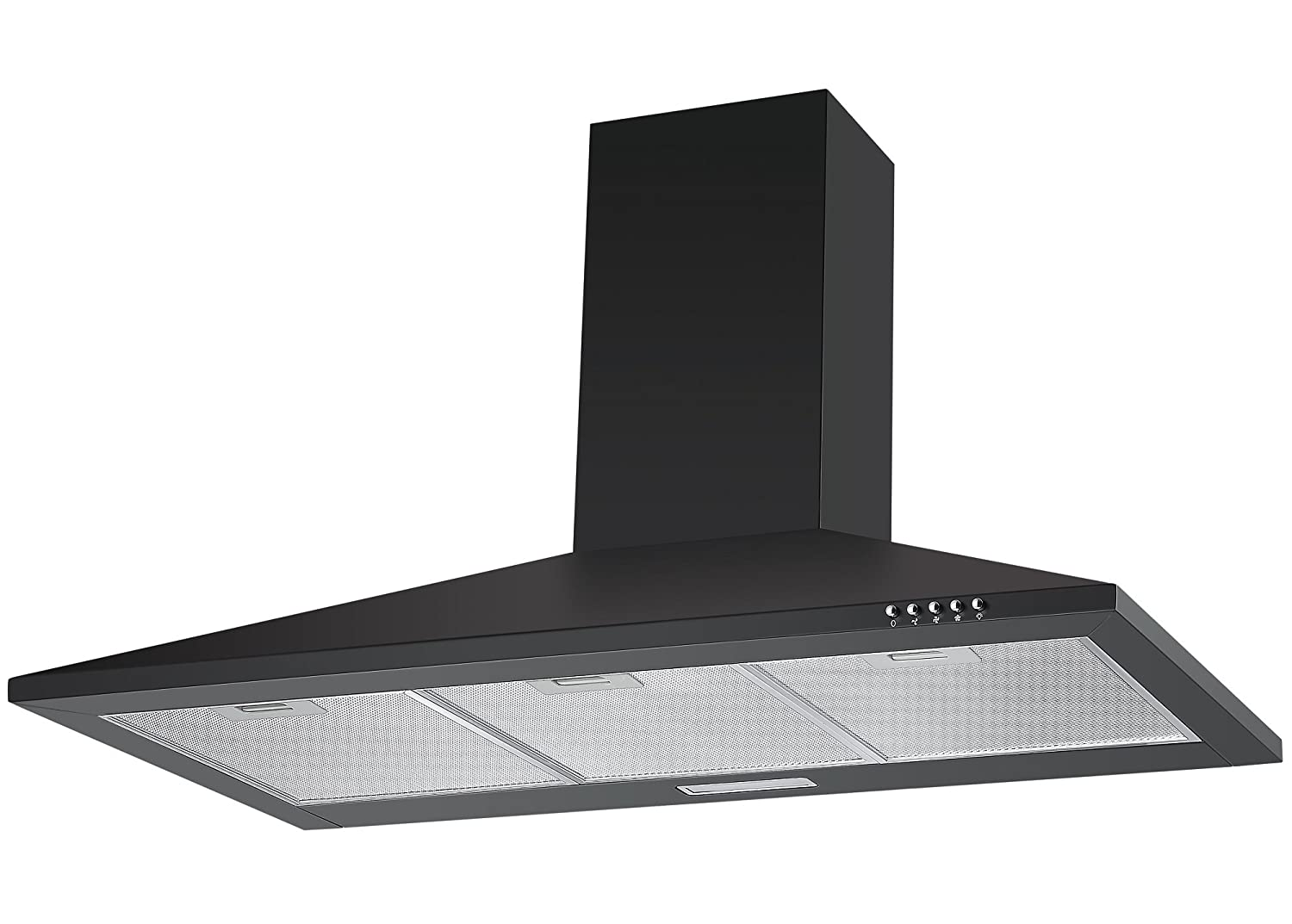 Cookology CH900BK 90cm Chimney Cooker Hood in Black | Wall Mounted Extractor Fan with LED Lighting [Energy Class C]