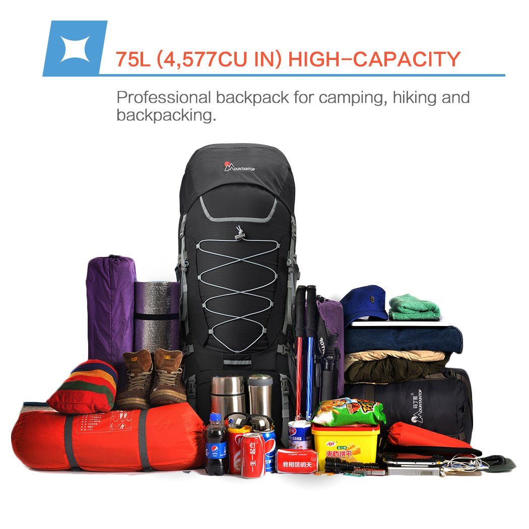 MOUNTAINTOP 55L//75L//80L Hiking Backpack with Rain Cover