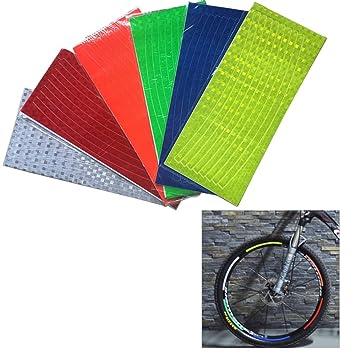 Pegatinas reflectantes para llantas de bicicleta de colores para rueda de ciclismo (6 unidades): Amazon.es: Oficina y papelería