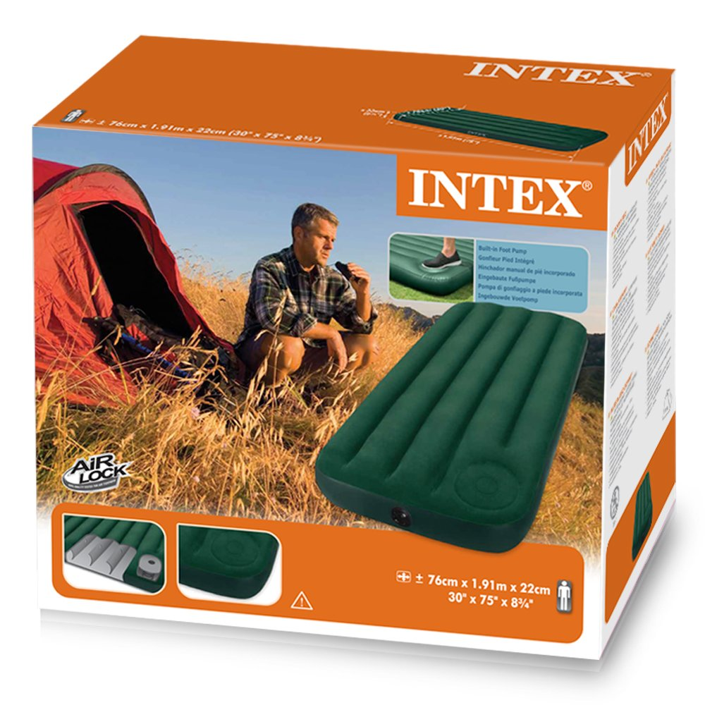 Amazon.com : Intex Junior Single Size Downy Airbed with Built-in Foot Pump : Sports & Outdoors