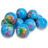 Wang-Data 24 Pack Squeezable World Stress Balls for Kids Mini World Globe Earth Ball - Pressure Relieving Health Balls Globe