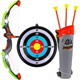 Ajmeri Traders Bow and Arrow Set for Kids Outdoor Play Toy Princess Basic Archery with 3 Suction Cup Arrows, LED Light Up Bow, Target Quiver, Pink Toy, Hunting Game Quiver & Holder Stand - Function Series Girls, (Black)