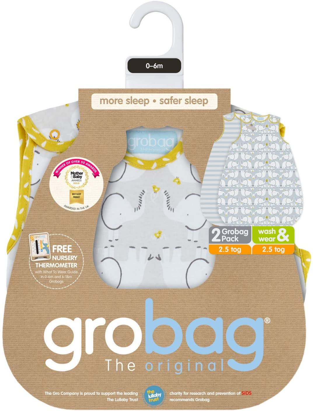 1.0 Tog 0-6 Months The Gro Company Elephant Love Grobag Baby Sleeping Bag Wash and Wear Twin Pack