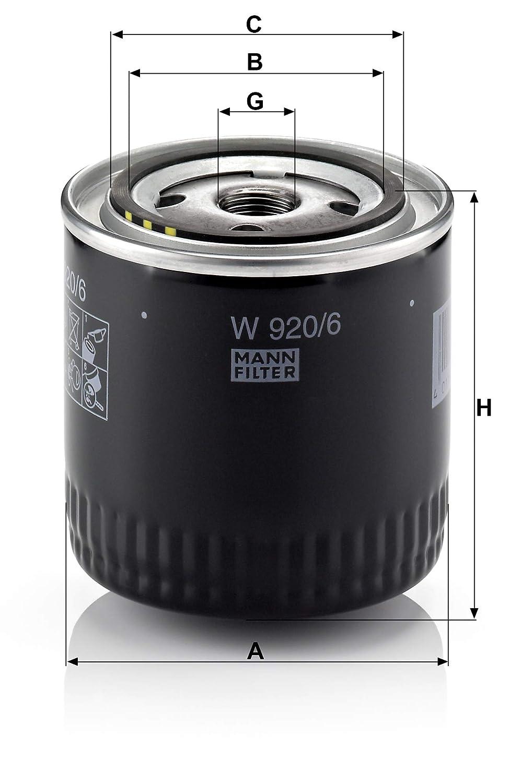Pour v/éhicules particuliers et v/éhicules utilitaires MANN-FILTER W 920//6 Original Filtre /à huile