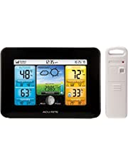 AcuRite 02077RM Color LCD Screen Display with Temperature/Humidity Sensor, Black