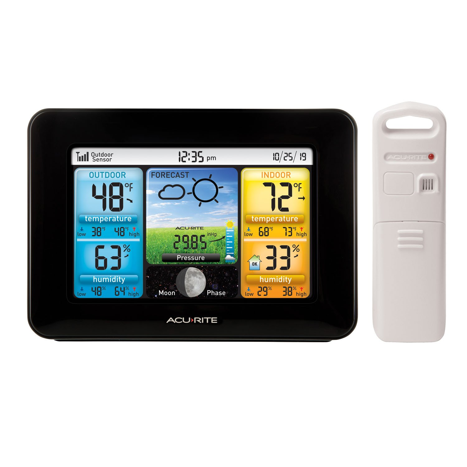 AcuRite 02077 Color Weather Station Forecaster with Temperature, Humidity, Black by AcuRite