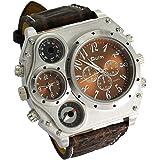 Oulm 模拟深棕色皮革表带 4 个子表盘男式手表