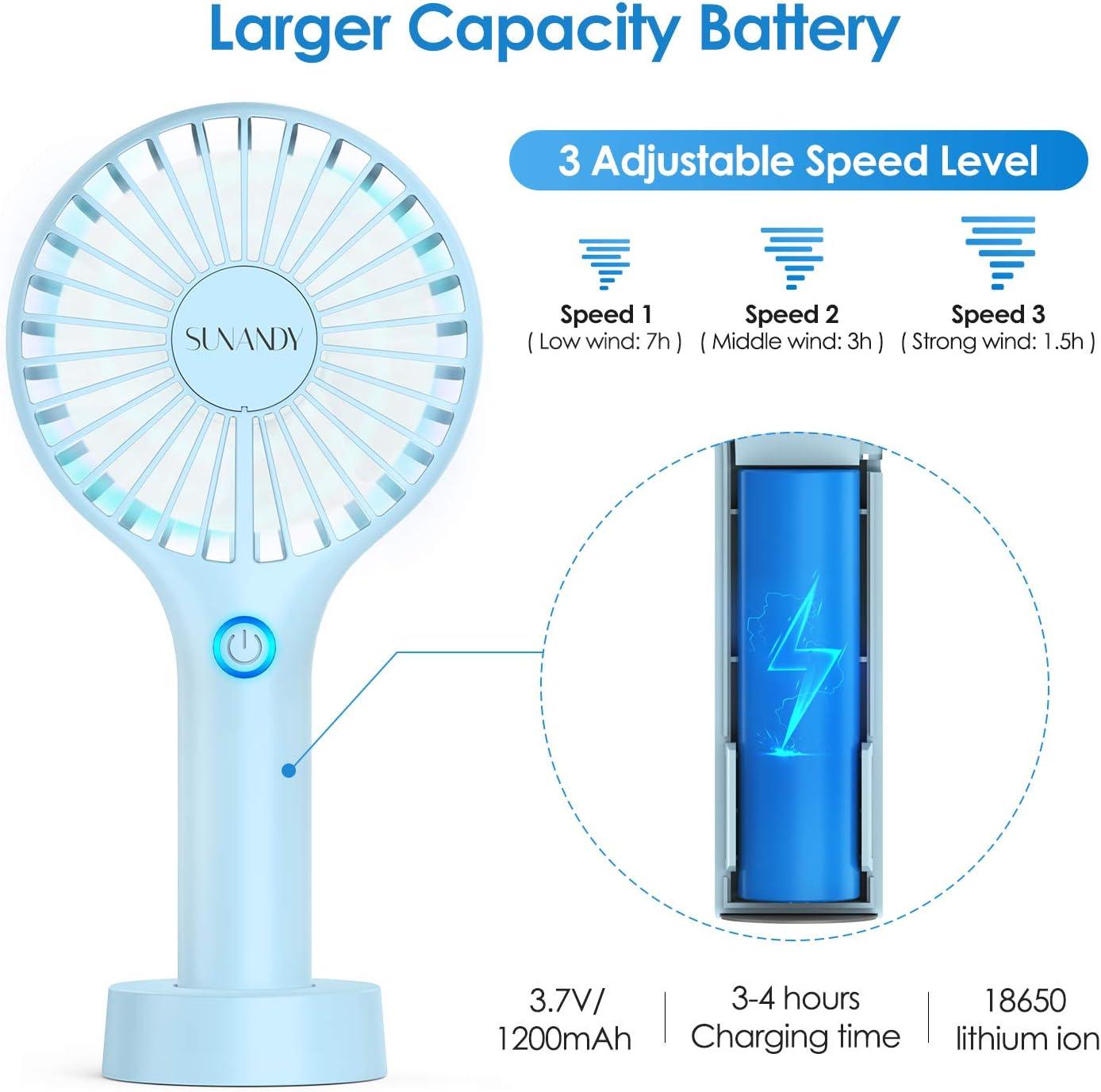 Sunandy Ventilador de Mano Mini Ventilador portátil Ventilador USB ...