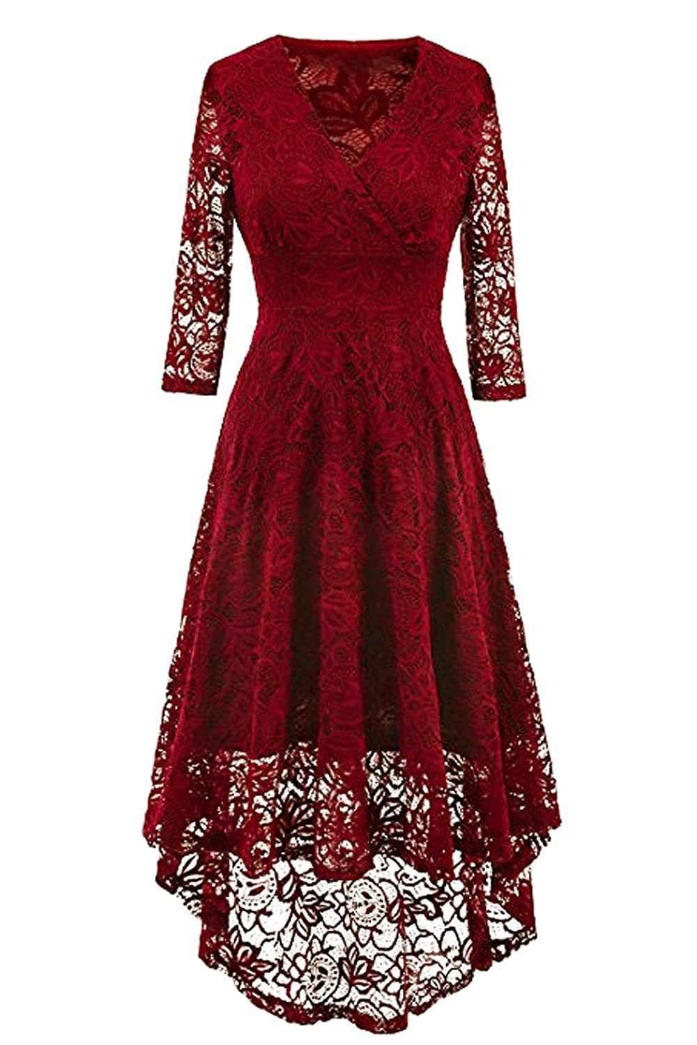NALATI Women Vintage Beautiful 50's Retro Floral lace Fabric Swing Dress with 3/4 Long Sleeve Deep V Neck High Waist High-Low Hip Lace Party Cocktail Midi Dress