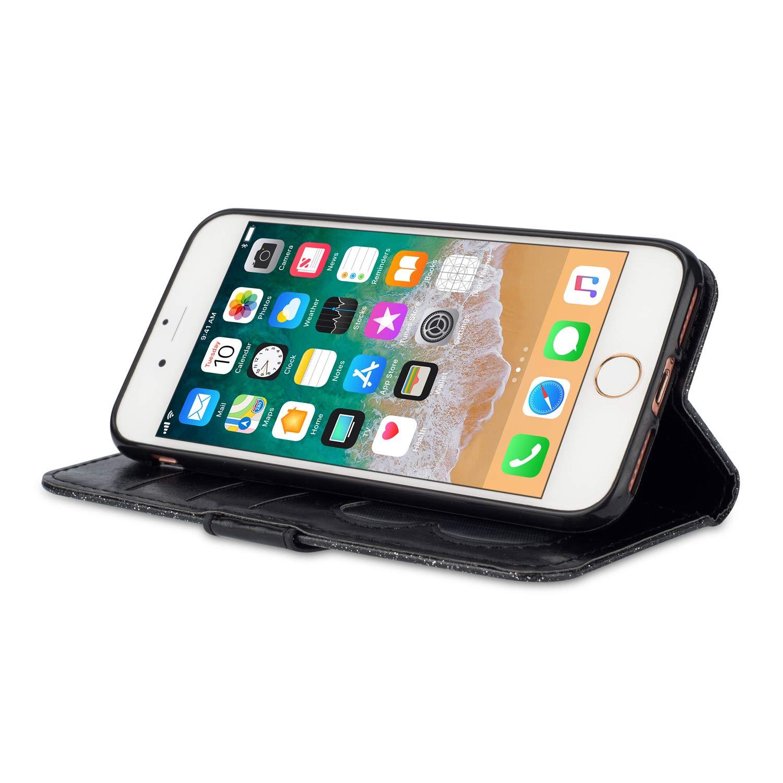 Ostop Glitzer Silber H/ülle f/ür iPhone 8 Plus,iPhone 7 Plus H/ülle,Luxus Gl/änzend Handyh/ülle Rei/ßverschluss Brieftasche Leder Tasche Stand Kartenfach Magnetisch Klapph/ülle Schutzh/ülle