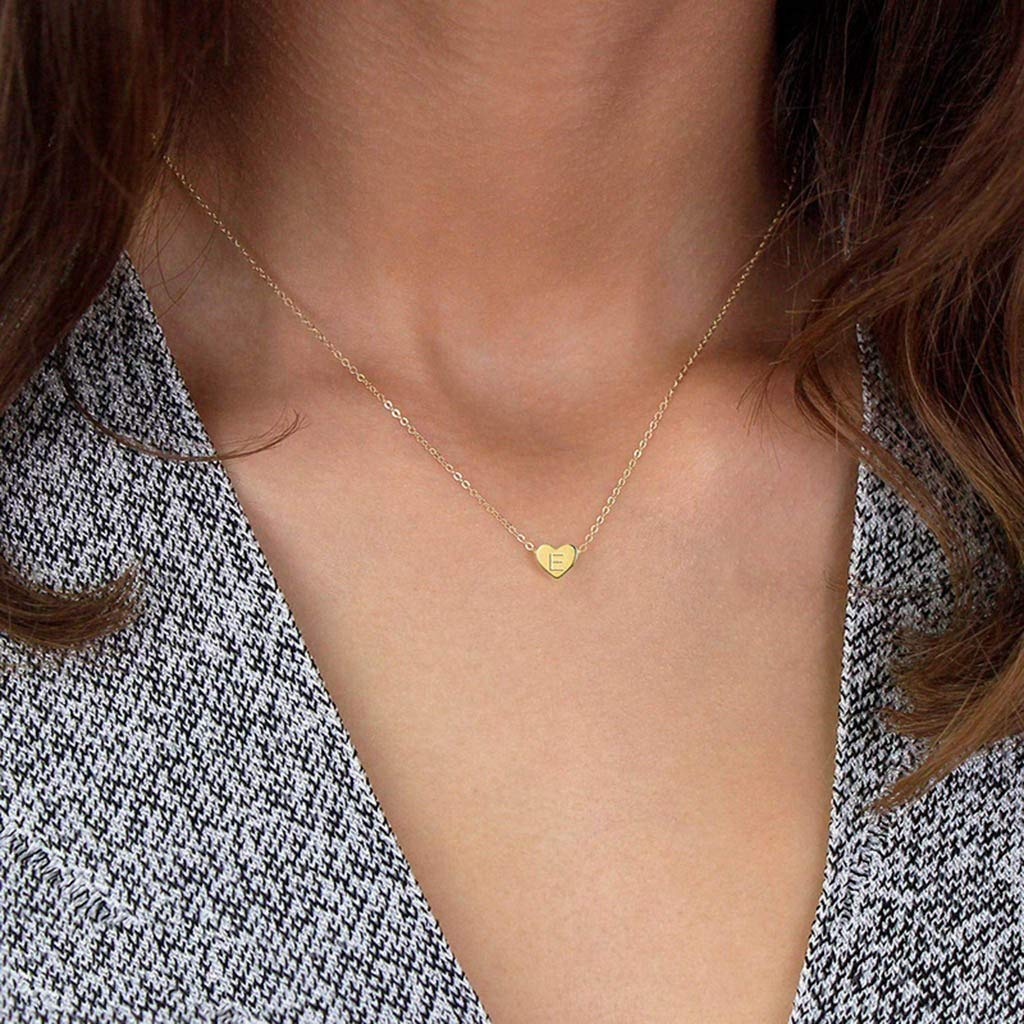 Heart Letter Initial Necklace Gifts Titanium Steel Peach Heart Letter Necklace Handmade Personalized 26 Letters Love Clavicle Neck Chain for Women Girls Gold Initial Heart Necklace J