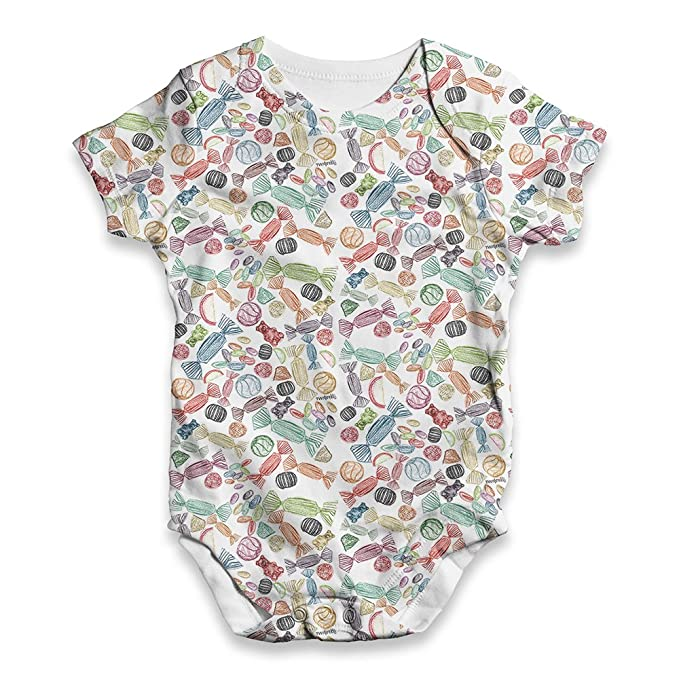 1d243a3f2 Amazon.com: TWISTED ENVY Candy Doodles Baby Unisex Novelty All-Over Print  Bodysuit Baby Grow Baby Romper: Clothing