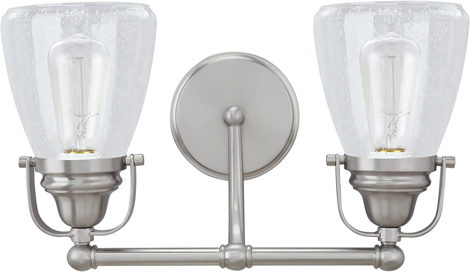 Transitional Design in Brushed Nickel with Clear Seedy Glass Shade 15 3//4 Wide Two-Light Metal Bathroom Vanity Wall Light Fixture Aspen Creative 62098