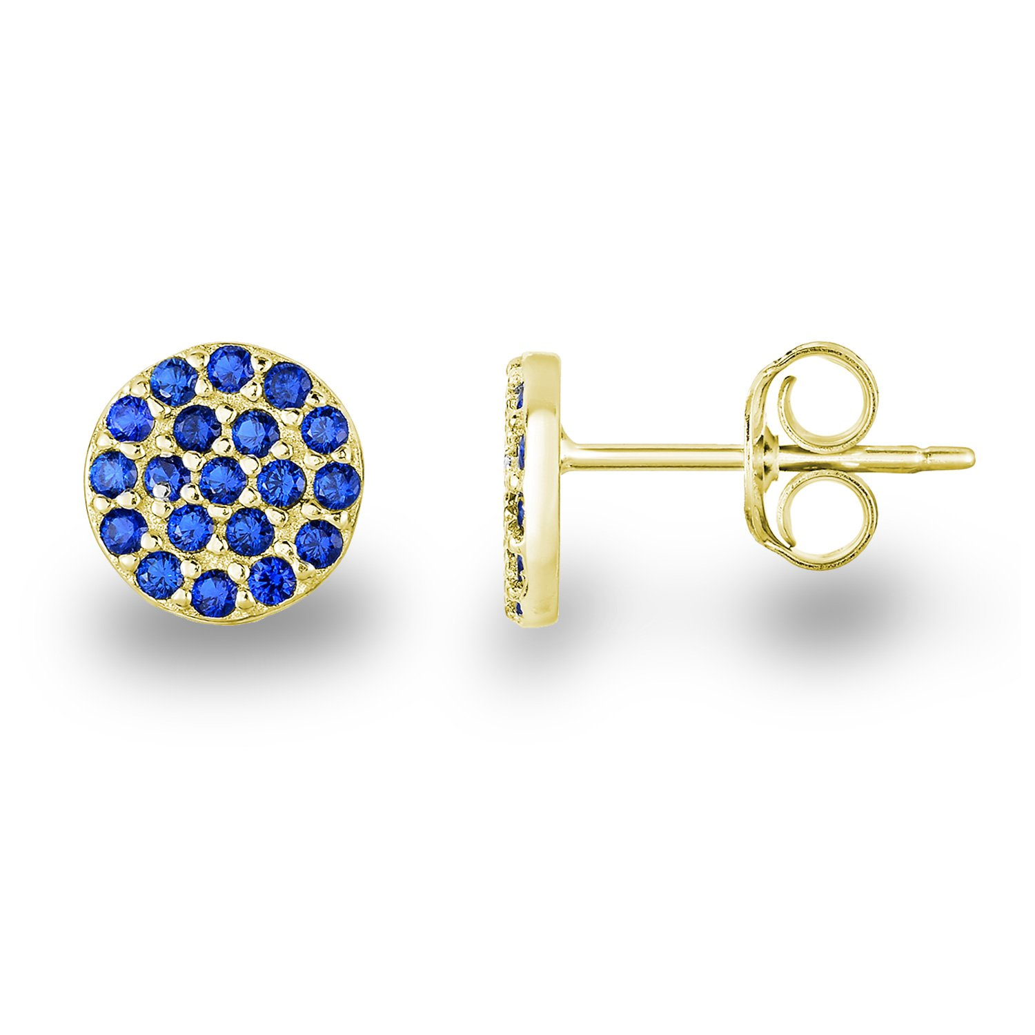 Yellow Gold-Plated Silver Cobalt Blue Simulated Quartz Circle Pave Disc Stud Earrings 6mm Diameter