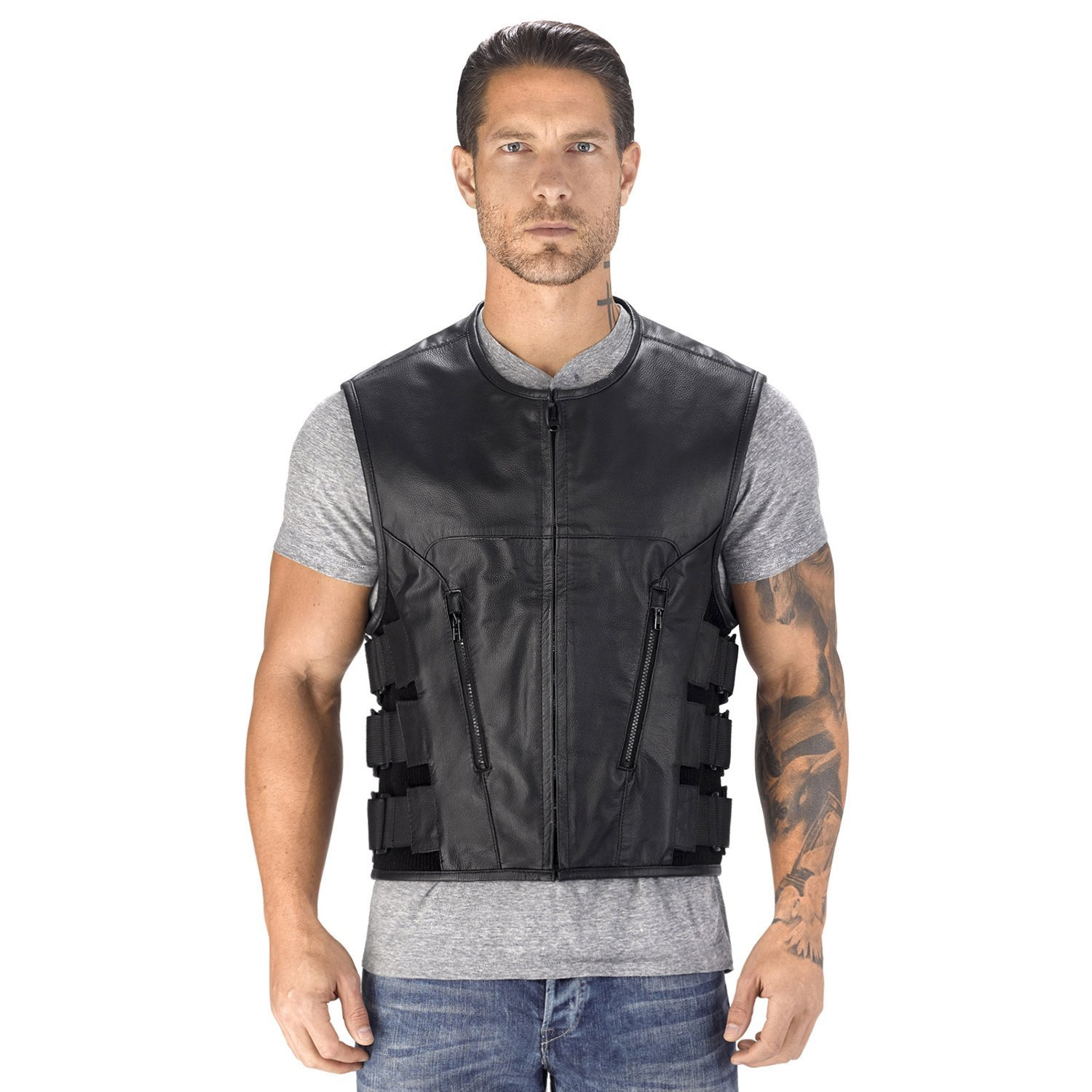 Viking Cycle Odin Motorcycle Leather Vest for Men (XL) by Viking Cycle