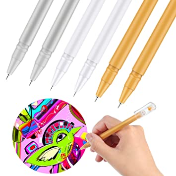 0.6 mm White Gel Pen for Artists Dark Papers Drawing Highlight Art Design Fine