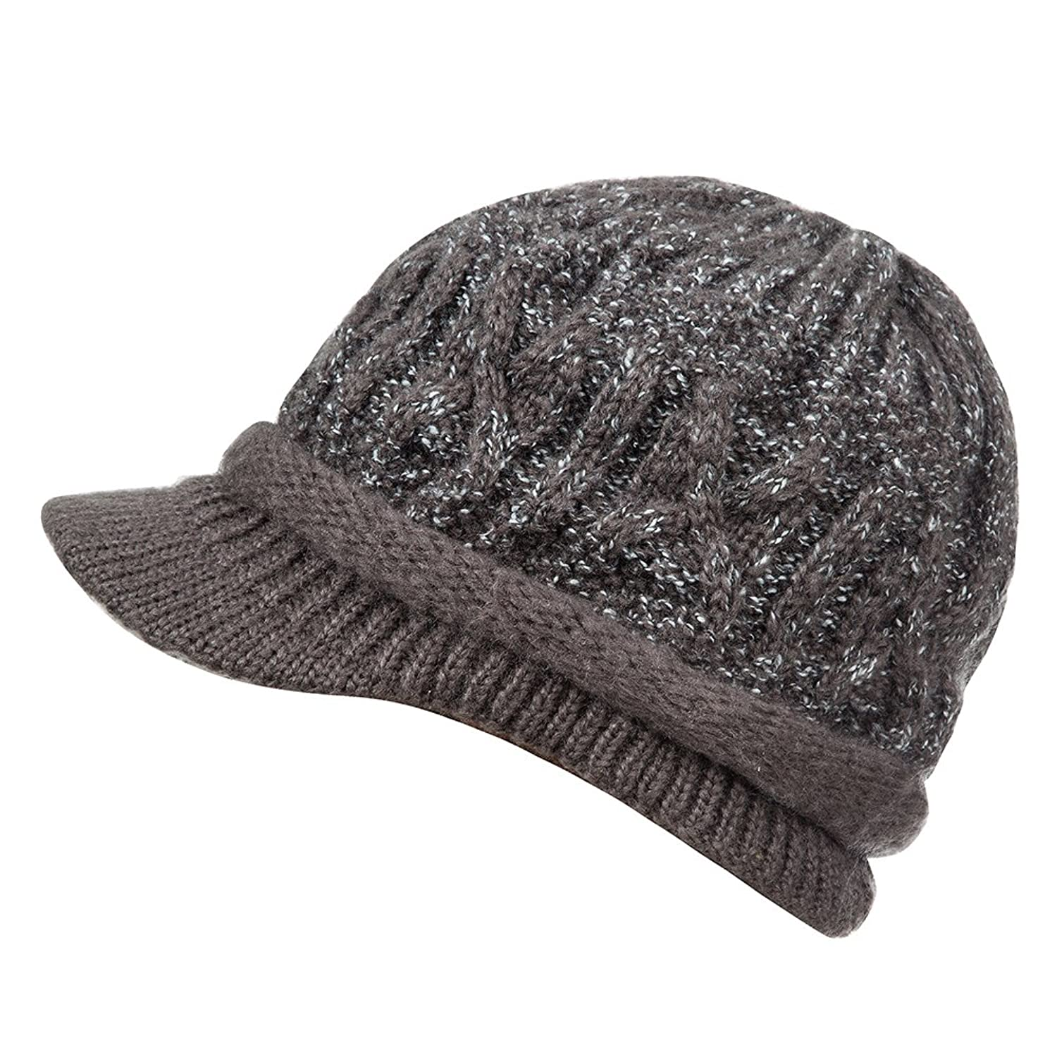 Knitted Winter Warm Hat with Visor Women and Girls