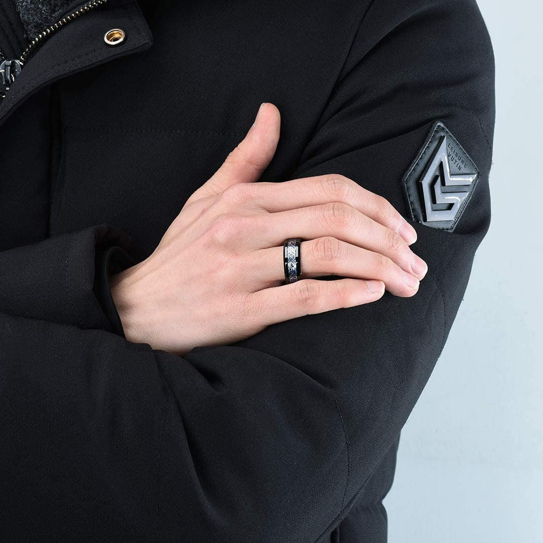 King Will Dragon Mens 8mm Black Tungsten Carbide Ring Blue Carbon Fiber Celtic Dragon Wedding Band