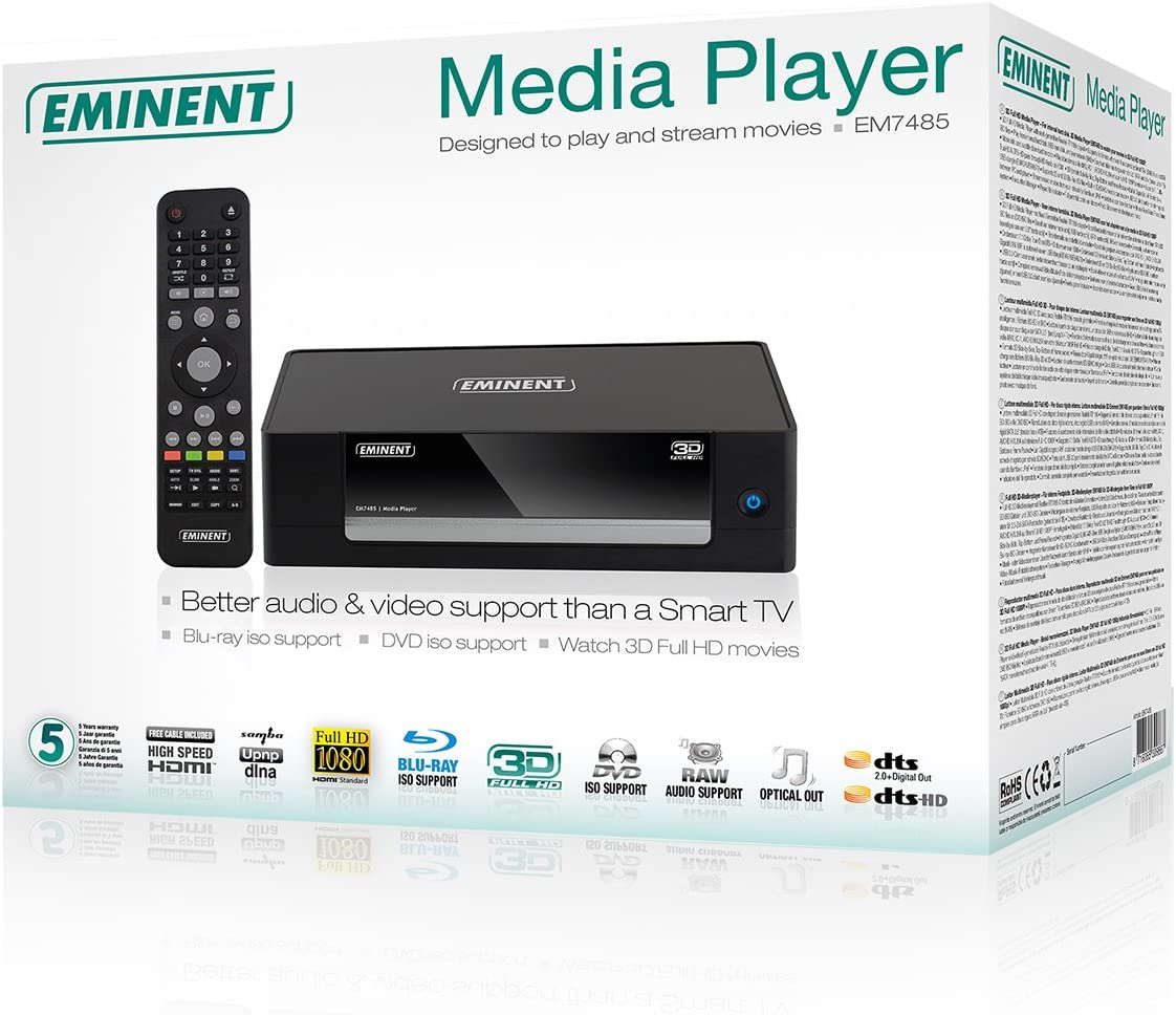 Eminent EM7485 - Reproductor Multimedia (3D, Full HD, USB 3.0, BLU-Ray), Color Negro: Amazon.es: Electrónica