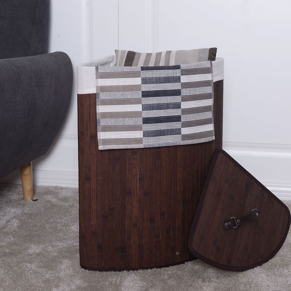Corner Bamboo Hamper Laundry Basket Washing Cloth Bin Storage Bag Lid Brown