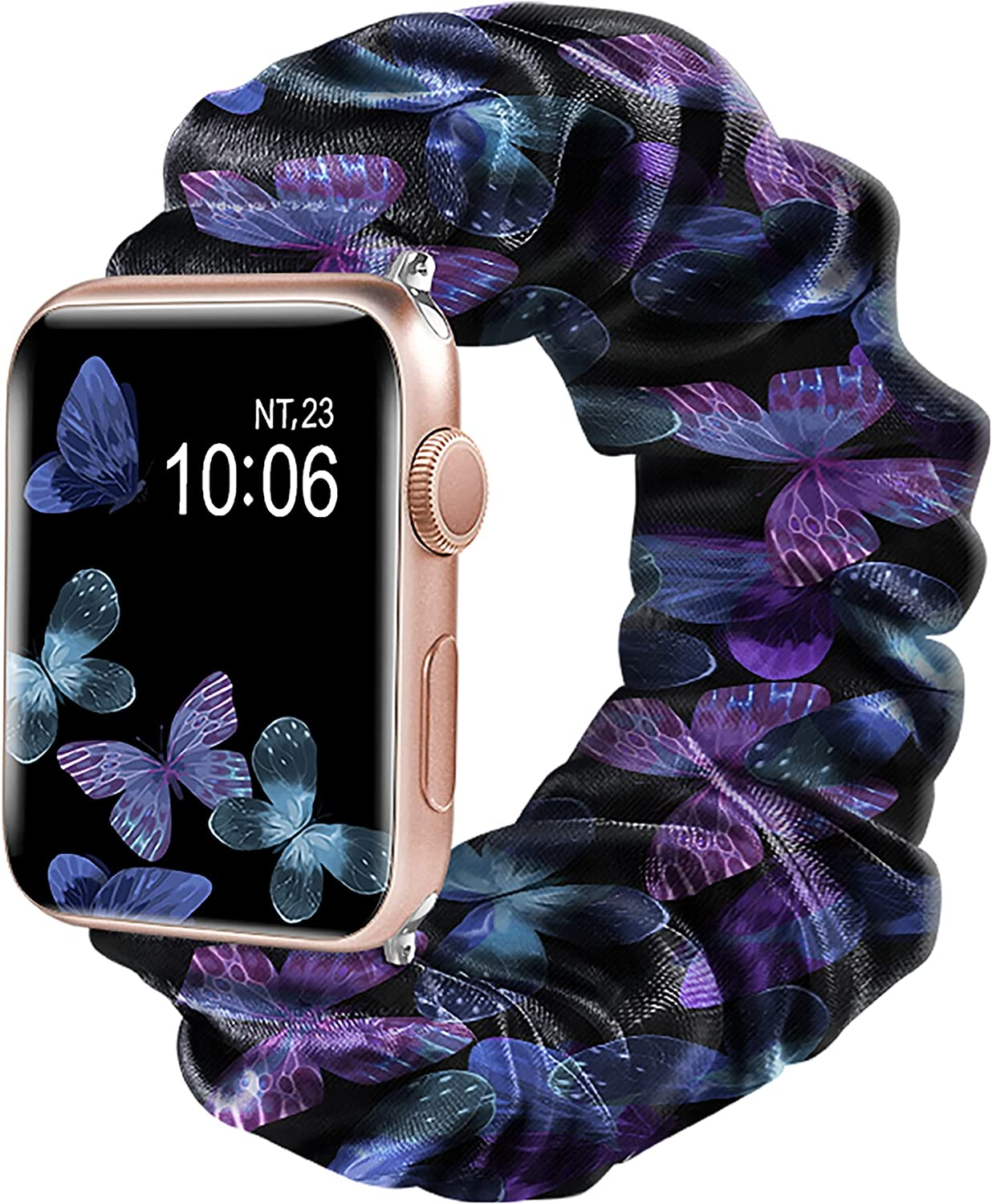 YOOMAS Compatible with Apple Watch Band Floral Replacement Scrunchies 38mm 40mm 42mm 44mm Cloth Soft Pattern Printed Fabric Wristband Bracelet Women Elastic Scrunchy Bands for Watch SE Series 6/5/4/3/2/1