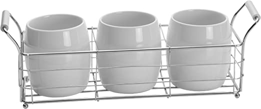 Towle Living Ceramic Wire Flatware Caddy Set White