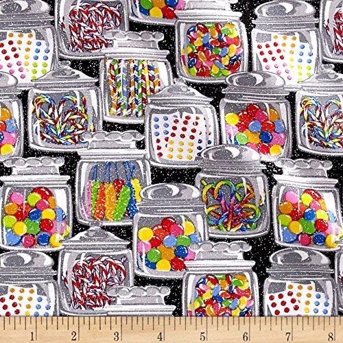 Glitter Candy Jars Black Fabric By The Yard