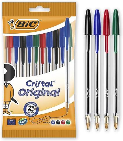 Bic CRISTAL, Bolsa, pack de 10 unidades, Multicolor: Amazon.es: Oficina y papelería