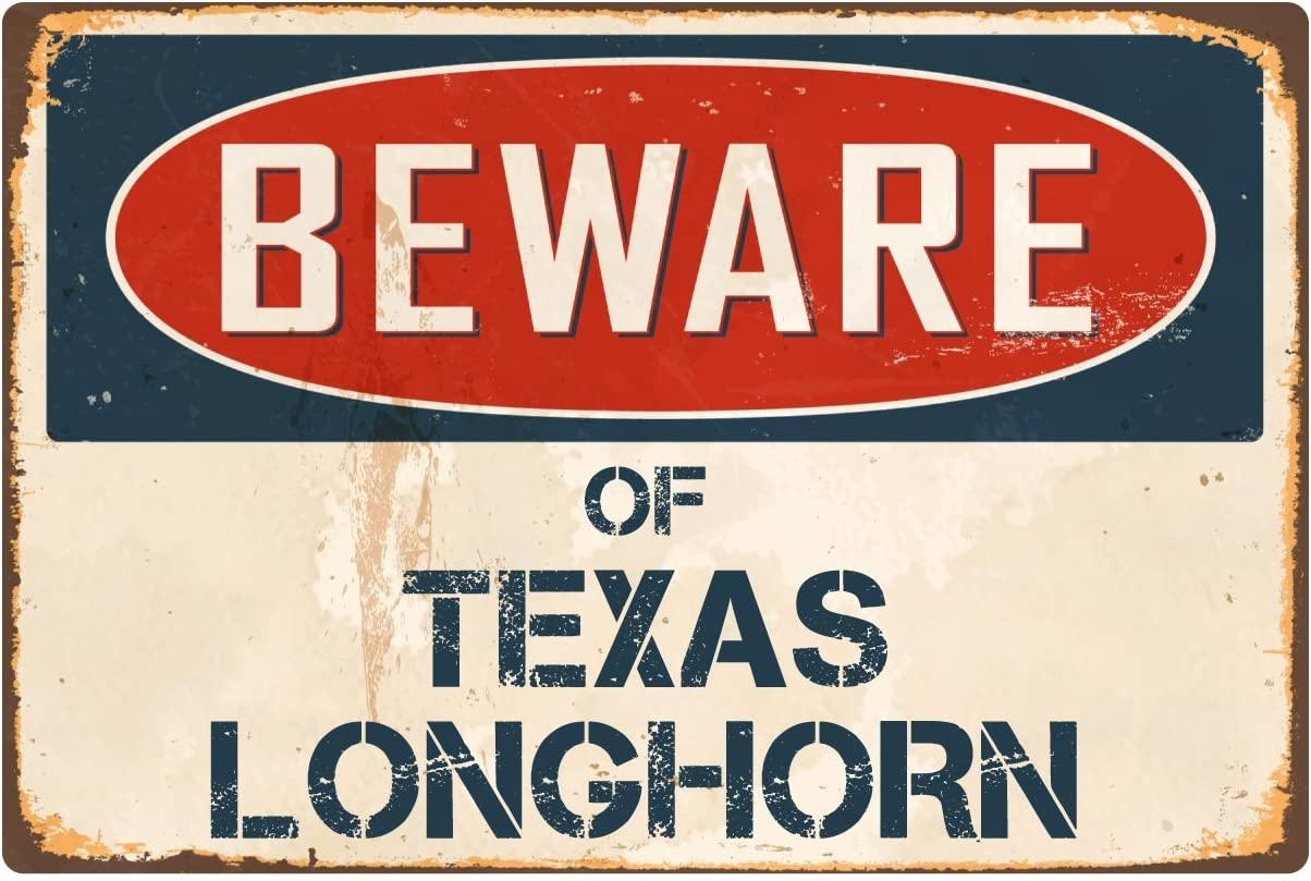 "StickerPirate Beware of Texas Longhorn 8"" x 12"" Vintage Aluminum Retro Metal Sign VS412"