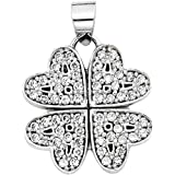 """14K White Gold Four Love Hearts Clover Shape Round Cut CZ Pendant Charm (Height = 1/2"""" , Width = 5/8"""")"""