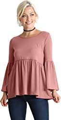 5e139679ff6a77 Long Ruffle Sleeve Babydoll Peplum Reg and Plus Size Tops for Women - Made  in USA