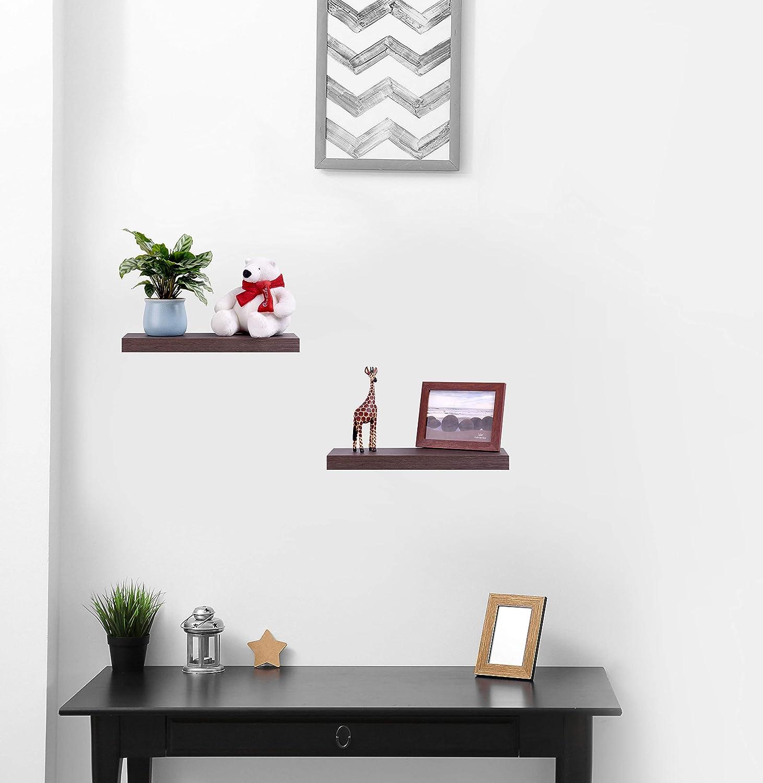 Emerit Floating Wall Mountable Shelf Set Of 2 Wall Storage Shelves For Bedroom Living Room Bathroom Kitchen Office Walnut