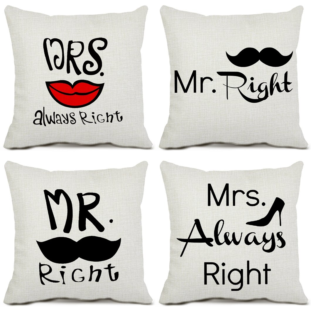 Mrs Always Right Decorative Throw Pillow Covers Cotton Linen Square 4 Pack Cushion Covers Mr Right Pillowcases for Sofa Couch Home Decor 18 x 18 Inches Chende A square