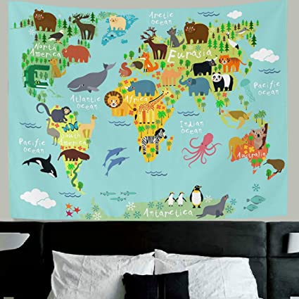 Amazon hmwr world map tapestry wall hanging kids tapestry hmwr world map tapestry wall hanging kids tapestry animal world map cartoon wildlife continent forest wall gumiabroncs Images