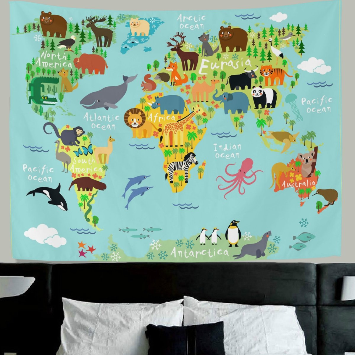HMWR World Map Tapestry Wall Hanging Kids Tapestry Animal World Map Cartoon Wildlife Continent Forest Wall Fabric Tapestry Throw Artwork Home Decoration for Living Room Bedroom Dorm 60x40 Inch