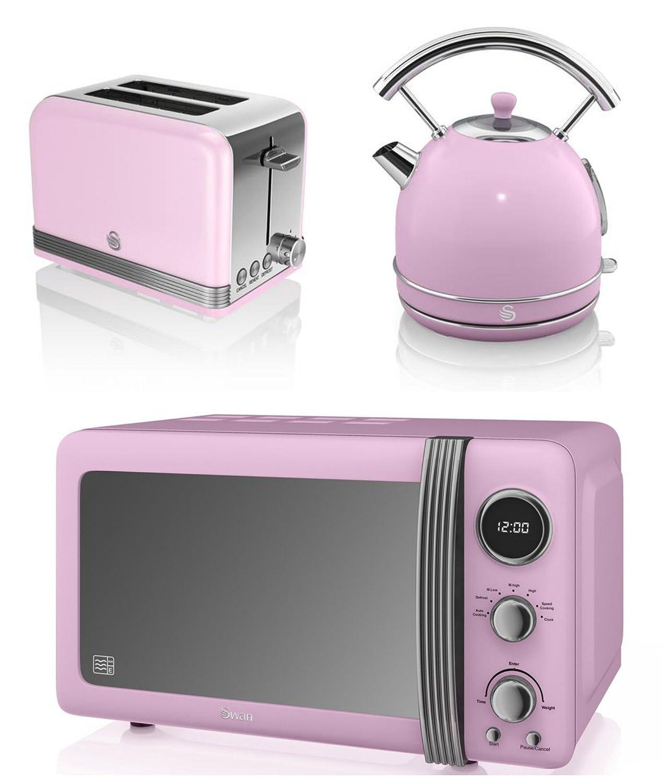 Uncategorized Pink Kitchen Appliances Uk new swan kitchen appliance retro set pink digital 20l microwave 1 7 litre dome