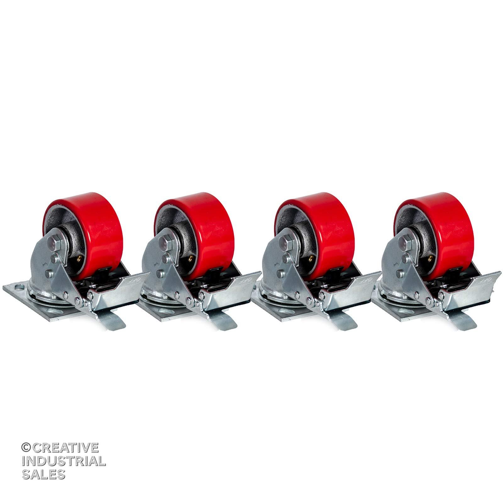 4'' x 2'' Swivel Casters Polyurethane Wheel w/Total Lock Brake 700lb ea (4) Toolbox