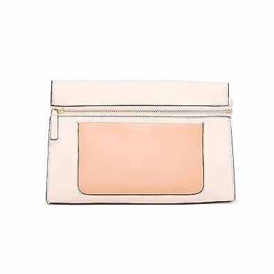 cecf67f1947 Isaac Mizrahi Womens Fashion Designer Handbags Janna Leather Clutch Evening  Crossbody Bag Antique White