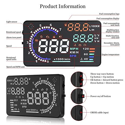 Arestech 5 5 inches A8 OBD2 Windshield HUD Head Up Display with Display RPM  MPH Speeding Warning Fuel Consumption Temperature