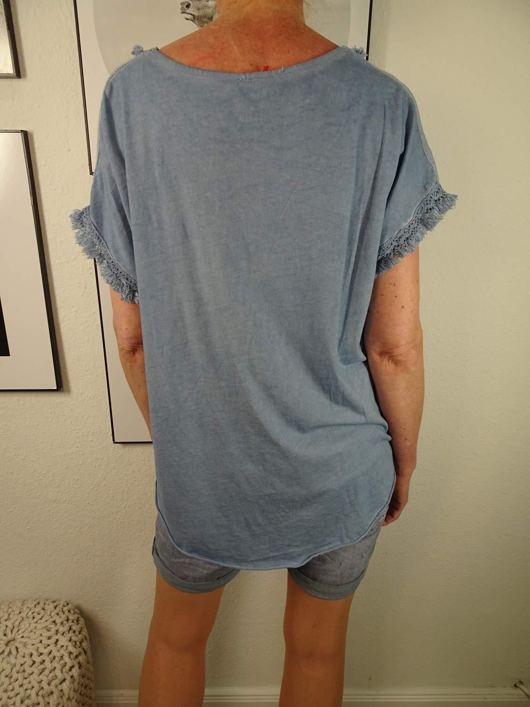 Italy Fashion Shirt med Musse Print  lätt tunika med linne och frans  halvarm blus med tryck och V-ringad blå
