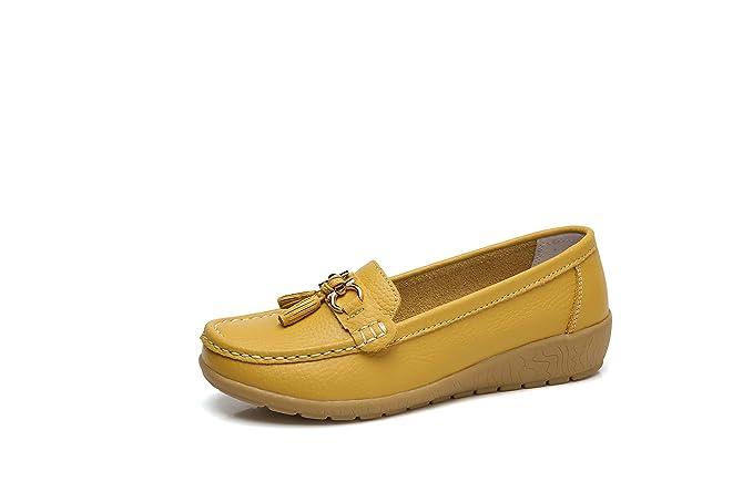 Morbuy Mujer Clásico Cuero Mocasines, Zapatos Cuña Loafers Zapatos del Barco Casual Zapatos de Conducción con Lazo, Cómodo y Antideslizante 35-44: ...