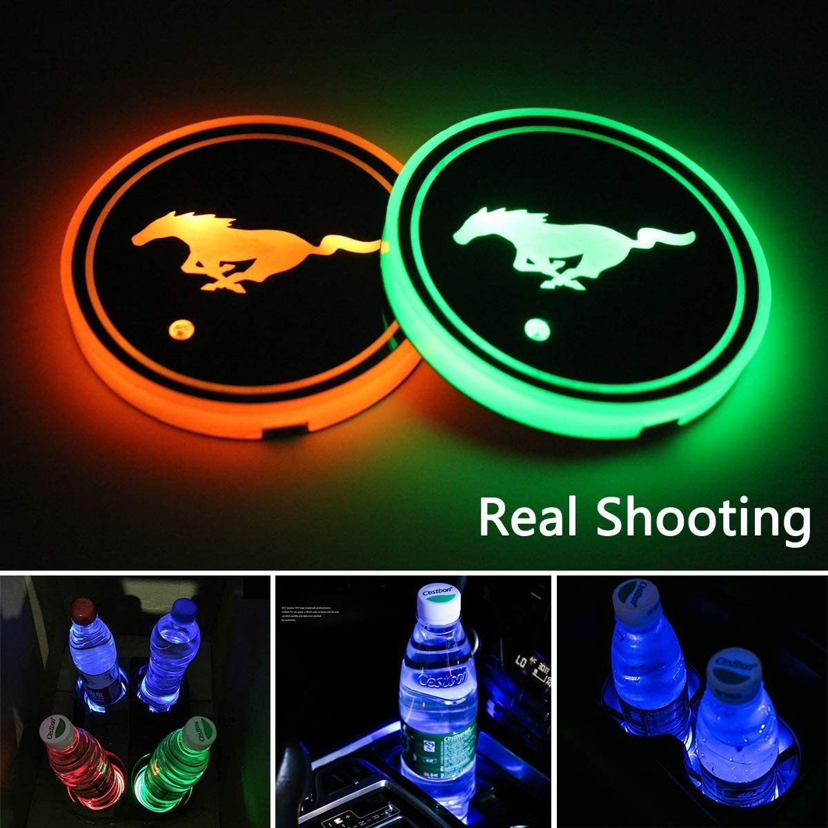 2 PCS Interior Accessories Coaster with 7 Colors Changing USB Charging Mat Luminescent Cup Pad YOJOHUA 2.75 Inch LED Car Cup Holder Lights for Mustang Atmosphere Lamp Decoration Light