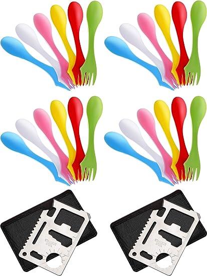 Juego de 24 cucharas de pl/ástico para Acampada Tritan Sporks 3 en 1 6 Colores cucharas multifuncionales y 2 abridores de Botellas con Bolsas port/átiles para Actividades al Aire Libre