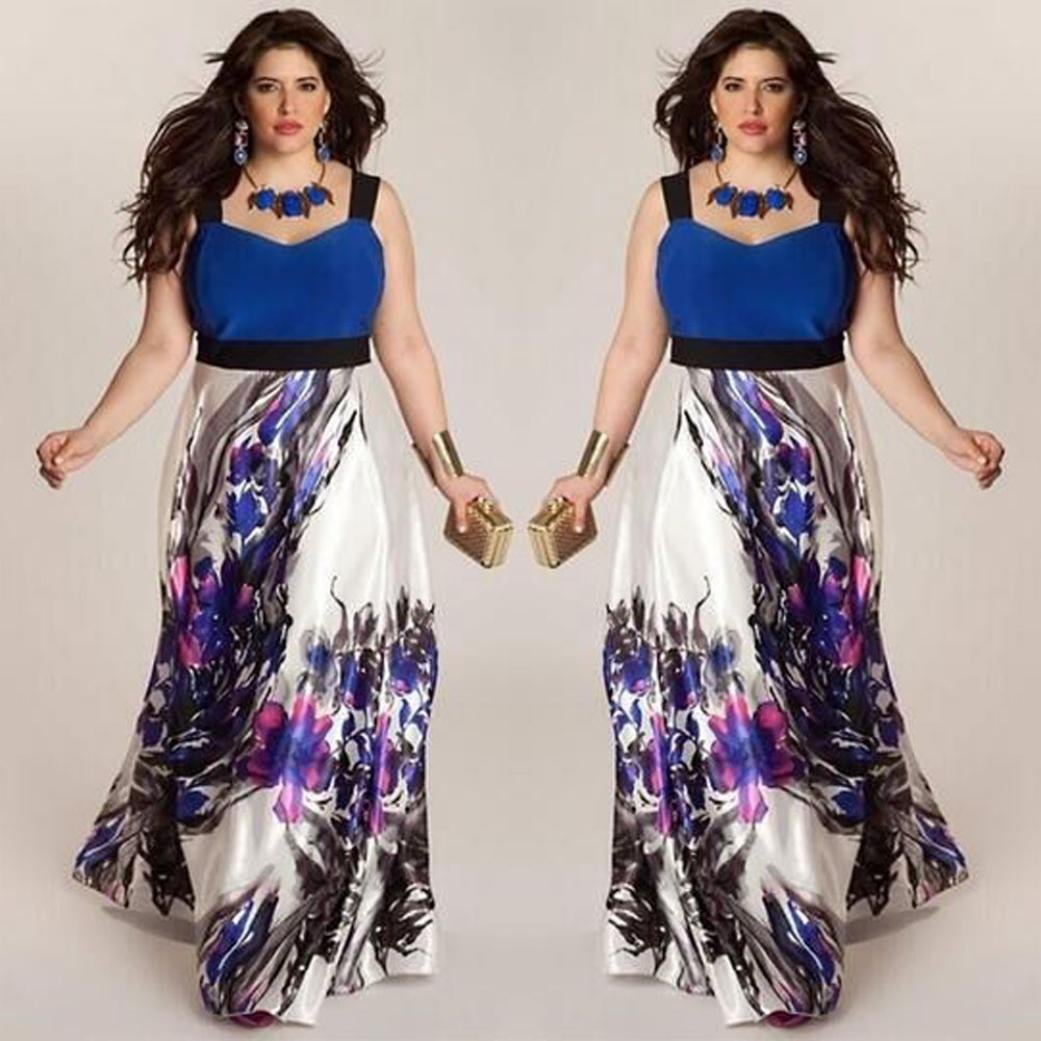 Amazon.com: Howstar Womens Plus Size Halter Floral Printed Wear to Work Long Maxi Dress: Clothing