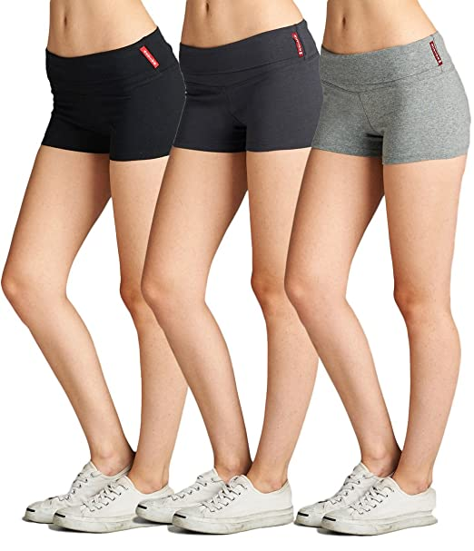 12a1cfadb9 Active Junior Women Fold Over Low Rise Short Cotton Spandex Yoga Workout  Dance - 3Pk -