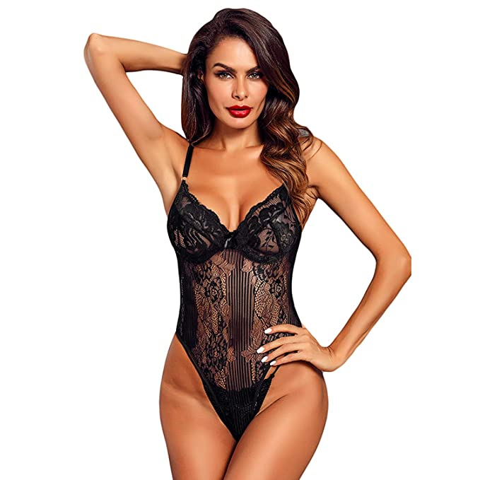 21ece9577 Guixiu Women Sexy Lingerie Lace Teddy One Piece Babydoll See Through  Bodysuit Hollow Out Black