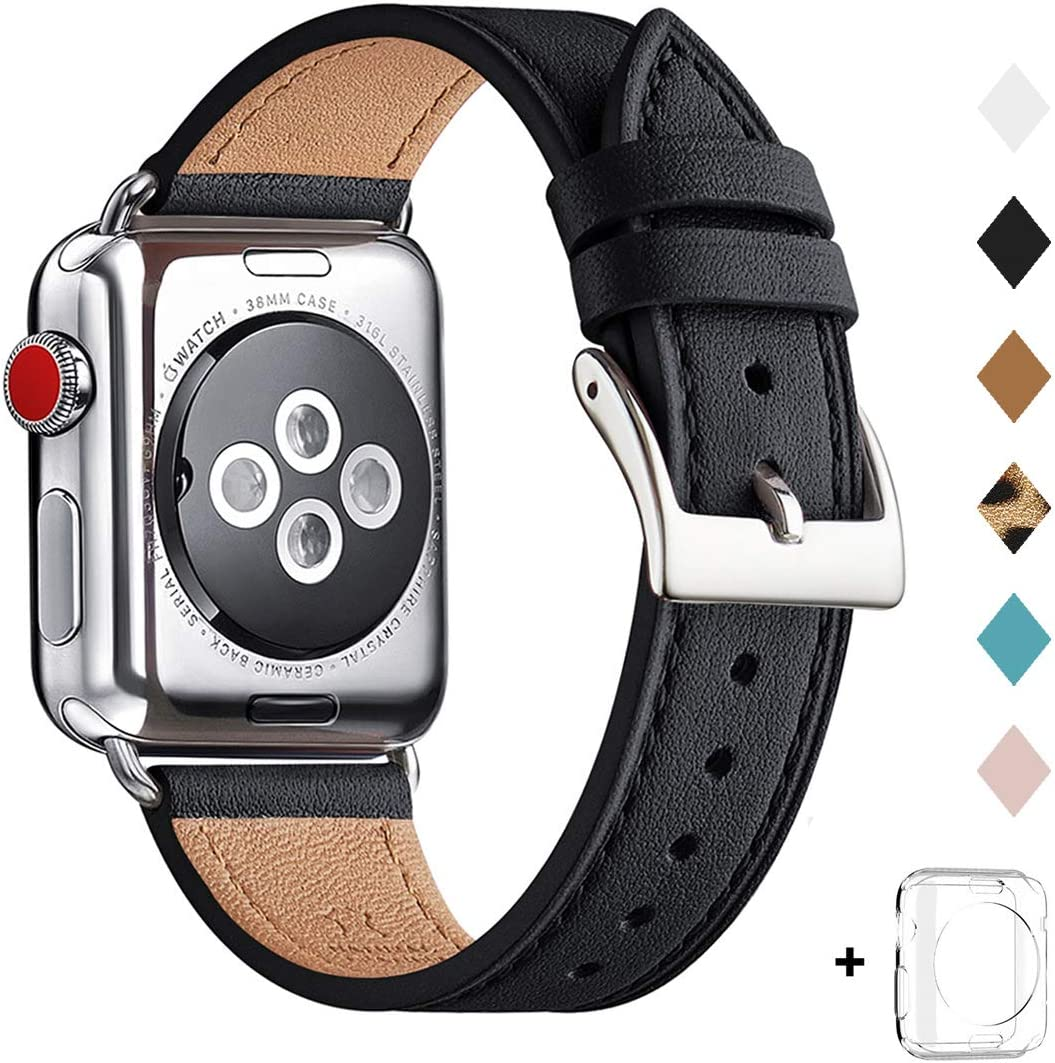 Bestig Band Compatible for Apple Watch 38mm 40mm 42mm 44mm, Genuine Leather Replacement Strap for iWatch Series 6 SE 5 4 3 2 1, Sports & Edition (Black Band+Silver Adapter, 38mm 40mm)