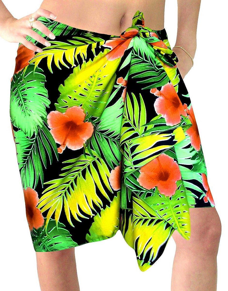 LA LEELA Likre lässig Resort Wrap Sarong Pareo Mädchen gedruckt LA LEELA Likre Frauen Pareo Strand Vintage Flora Mini Sarong 72x21 Zoll Orange 127456