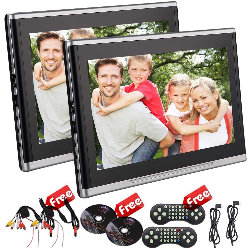 EinCar 10.1インチデュアルカーエンターテイメントヘッドレストDVDプレーヤー画面TFT LCDスクリーンDVDヘッドレストモニター後部座席DVD HDMIポートとリモートコントロールシガーライター充電サポート32ビットゲームと/ CD / USBプレーヤー B07BNCHR9S